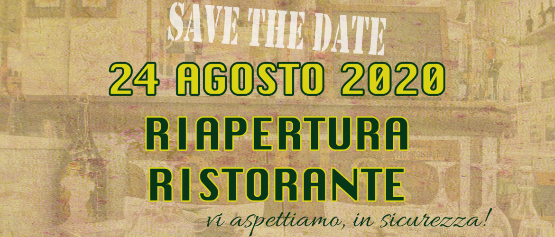 24 agosto 2020 riapertura ristorante